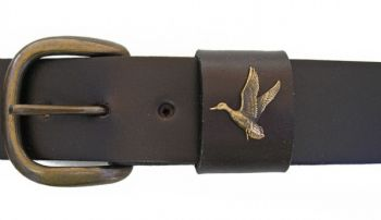"1 1/2"" wide Flying Duck with antique finish belt by Royden Leather Belts"