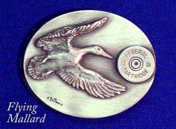 Flying Mallard Sculptured pewter buckle by Lou DePaolis