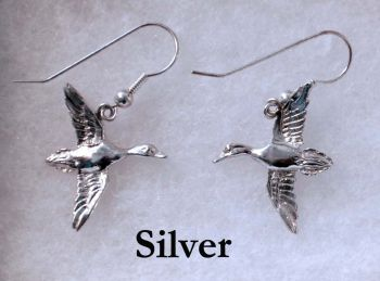 Flying Mallard Sterling Silver Earrings by Dick Cook