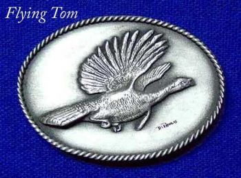 Flying Tom Turkey sculptured pewter buckle by the Art of Lou De Paolis