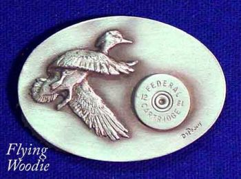 Flying Wood Ducks sculptured pewter buckle by the Art of Lou DePaolis