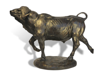 For Whom the Bell Tolls Buffalo Bull Bronze Sculpture by John Tolmay
