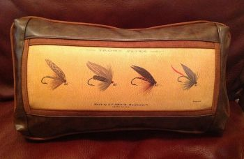 Four Trout Flies Leather Frame Pillow