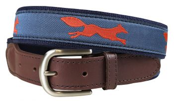 Fox Trot Steel Blue Leather Tab Belt by Belted Cow