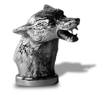 Fox Head Hood Ornament or Car Mascot by Louis Lejeune comes in chrome, bronze, enamel or gold plated