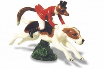 Fox Riding Hound Hood Ornament or Car Mascot by Louis Lejeune comes in chrome, bronze, enamel or gold plated