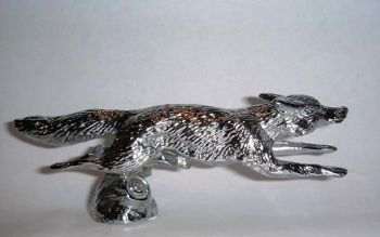 Fox Running - Small - Hood Ornament or Car Mascot by Louis Lejeune comes in chrome, bronze, enamel or gold plated