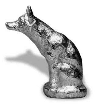 Fox Sitting - Large - Hood Ornament or Car Mascot by Louis Lejeune comes in chrome, bronze, enamel or gold plated