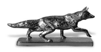 Fox Stalking Hood Ornament or Car Mascot by Louis Lejeune comes in chrome, bronze, enamel or gold plated