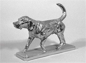 Foxhound Walking Hood Ornament or Car Mascot by Louis Lejeune comes in chrome, bronze, enamel or gold plated