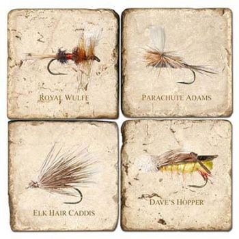 Fresh Water Flies set of 4 wine coasters by Studio Vertu