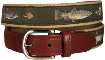 Freshwater Fish and Flies Leather Tab Belt by Belted Cow