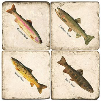 Freshwater Trout Italian Marble Coasters and Giftware