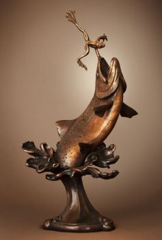 A trout about to catch a frog - bronze sculpture by Dan Genord