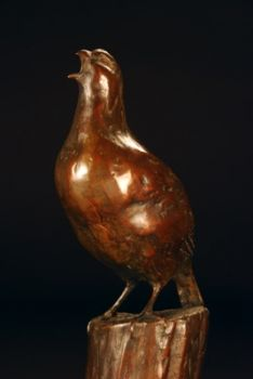 Morning Revelry (Quail Bronze Sculpture) Lis Lewis