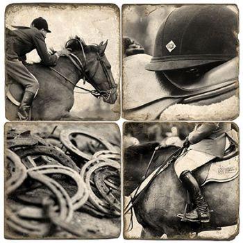 Gallop - Equestrian set of 4 wine coasters by Studio Vertu