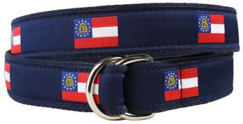 Georgia State Flag D Ring Belt by Belted Cow