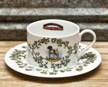 German Shorthair Cup and Saucer Plantation China by WM Lamb and Son