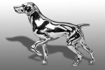 German Shorthaired Pointer Hood Ornament or Car Mascot by Louis Lejeune comes in chrome, bronze, enamel or gold plated