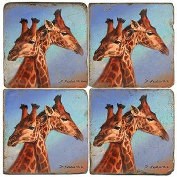 Long Necks Giraffe Italian Marble Coasters by Studio Vertu