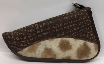 Giraffe & Cape Buffalo Hide Handgun Case -12""