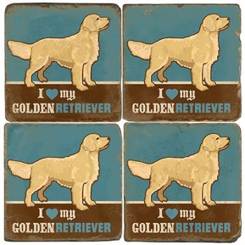 Golden Retriever Italian Marble Coasters and Accessories