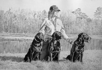Graphite commissioned portrait of person and dogs