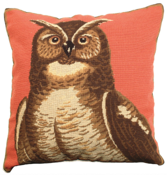 Great Horned Owl Petit Point Needlepoint Pillow by Michaelian Home