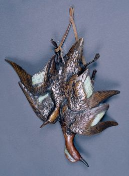 Autumn Brace is a limited edition bronze sculpture of Green Wing teal by Christopher Smith
