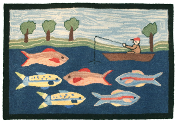 Green River Rug - Fishing Design Rug - Michaelian Home