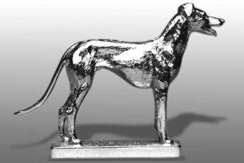Greyhound Standing Hood Ornament or Car Mascot by Louis Lejeune comes in chrome, bronze, enamel or gold plated