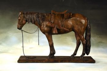 Ground Tied Horse Bronze Sculpture by Liz Lewis