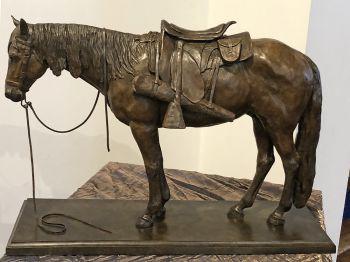 Ground Tied Horse Bronze Sculpture by Liz Lewis
