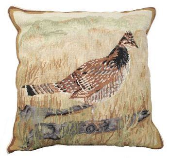 Grouse Needlepoint Pillow by Michaelian Home - 18 x 18 size