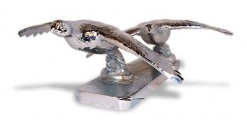 Grouse Pair Hood Ornament or Car Mascot by Louis Lejeune comes in chrome, bronze, enamel or gold plated