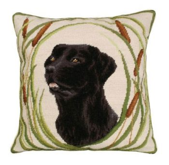 Gus is a Black Lab Needlepoint Pillow by Michaelian Home