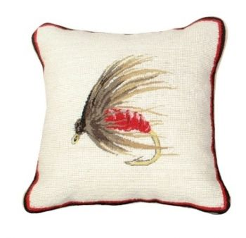 Hackle Fly Mixed Stitch Needlepoint Pillow by Michaelian Home