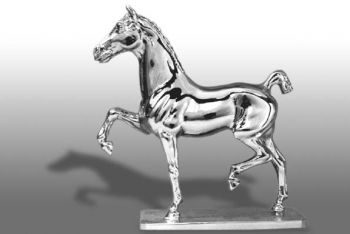 Hackney Short Tail Hood Ornament or Car Mascot by Louis Lejeune comes in chrome, bronze, enamel or gold plated