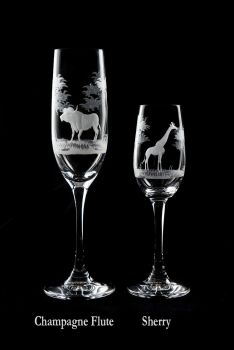 Champagne and Sherry hand-engraved crystal glasses from Queen Lace Crystal