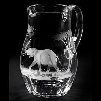 56 oz. Water Pitcher- Elephant -Queen Lace Crystal - Hand-engraved Crystal, Kenyan or American Wildlife Series