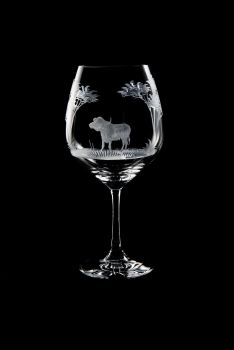 Vino Grande Wine Glass - Cape Buffalo Design - Queen Lace Crystal
