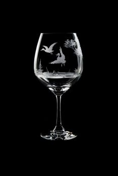 Vino Grande Wine Glass - Duck Design - Queen Lace Crystal