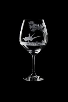 Vino Grande Wine Glass - Pheasant Design - Queen Lace Crystal