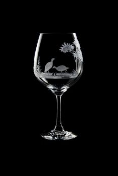 Vino Grande Wine Glass - Quail Design - Queen Lace Crystal