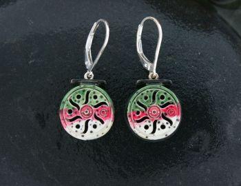 Rainbow trout skin fly reel dangle earrings by Tight Lines Jewelry