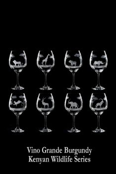Hand engraved 24 oz African Wildlife Crystal Wine Glasses