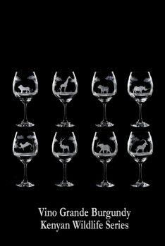 Hand engraved 24 oz African Wildlife Crystal Wine Glasses