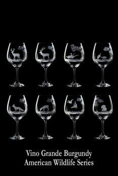 Hand engraved 24 oz American Wildlife Crystal Wine Glasses