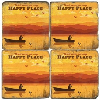 Happy Place Fisherman Italian Marble Coaster (Each or Set of 4) Studio Vertu