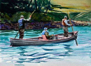 Headed Down Stream is a watercolor painting of three fisherman in a canoe by CD Clarke
